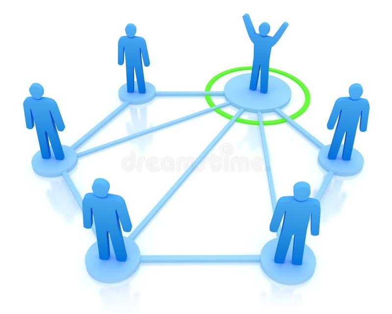 O líder está controlando sua equipe do trabalho. ilustração do vetor
