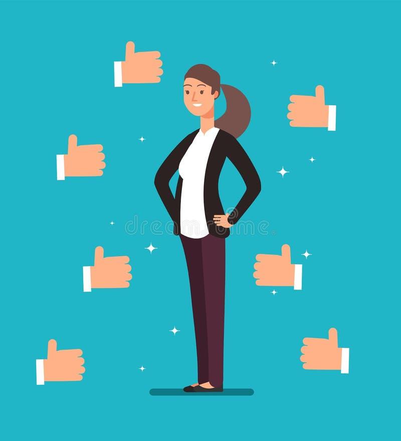 O líder orgulhoso feliz da mulher de negócios dos desenhos animados com muitos polegares levanta as mãos Reconhecimento e cliente ilustração royalty free