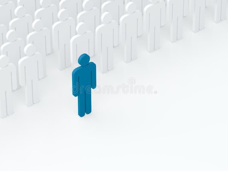 O líder saiu da multidão (conceito da liderança) (3D rendem) imagens de stock