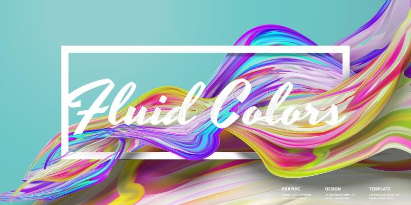 O líquido abstrato colore a bandeira ilustração stock