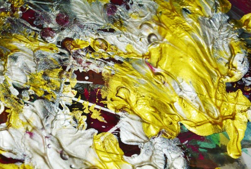 O líquido de prata violeta vermelho verde dourado afaga a pintura da aquarela Fundo do sumário da pintura da aquarela ilustração stock