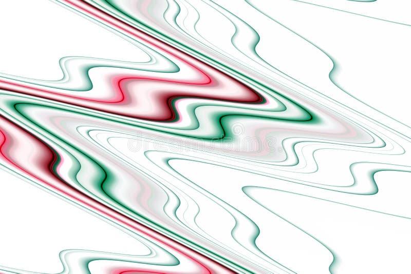 O líquido geen cores brancas cor-de-rosa, fundo colorido, ondas como formas ilustração do vetor