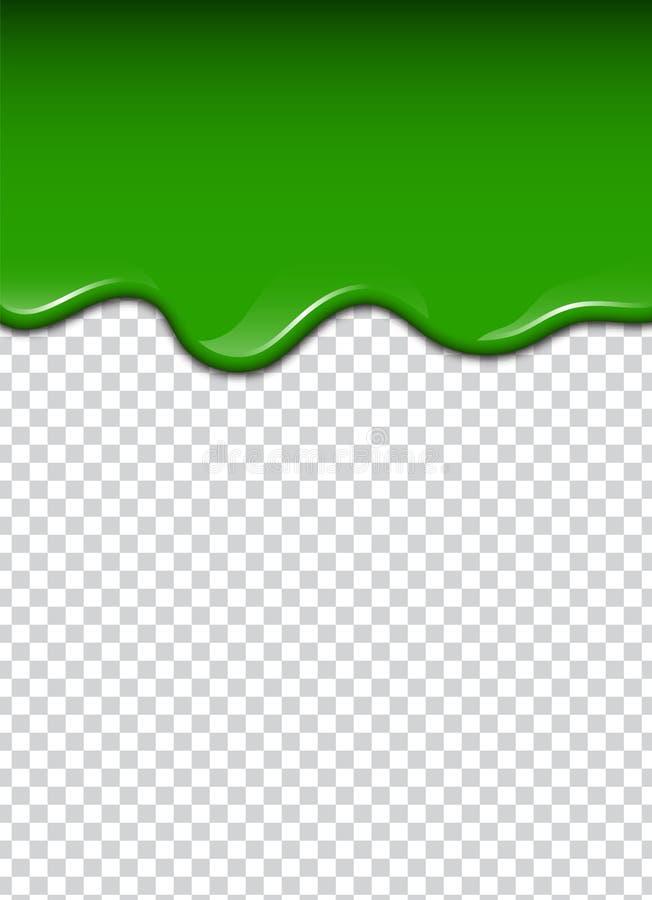 O líquido verde, espirra e borra Ilustração do vetor do limo ilustração stock