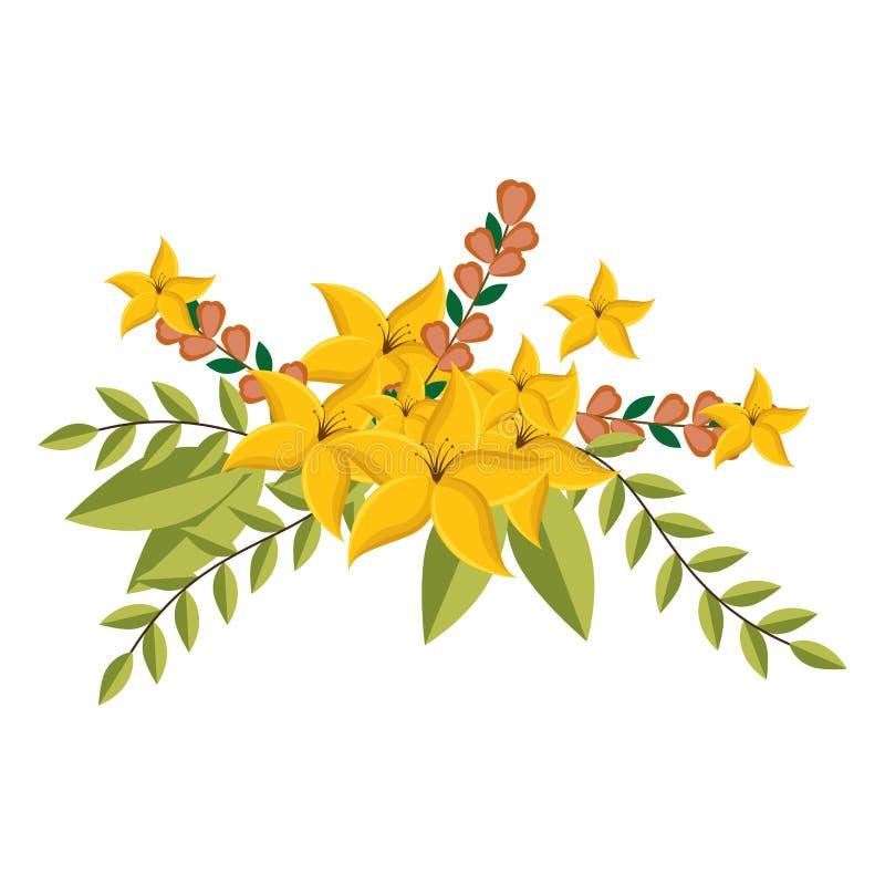 O lírio amarelo floresce o design floral da coroa com folhas ilustração royalty free