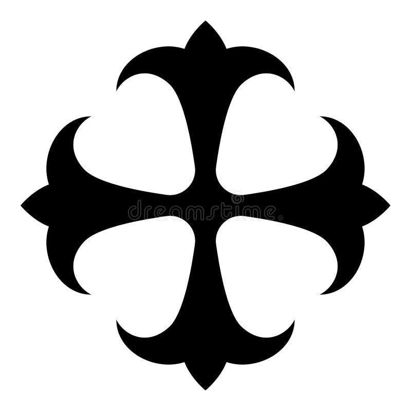 O lírio do campo do símbolo kreen o símbolo dokonstantinovsky do monograma transversal forte do preto transversal religioso do íc ilustração stock