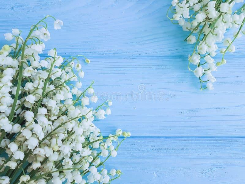 O lírio do vale na mola de madeira azul da celebração floresce cumprimentos imagem de stock royalty free