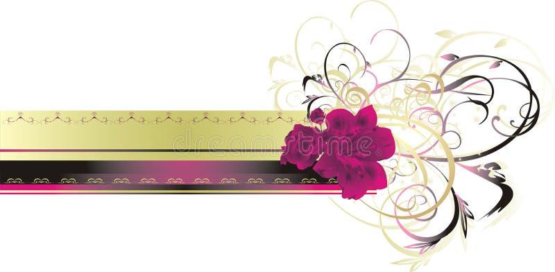 O lírio e levantou-se. Decoração floral para o cartão ilustração do vetor