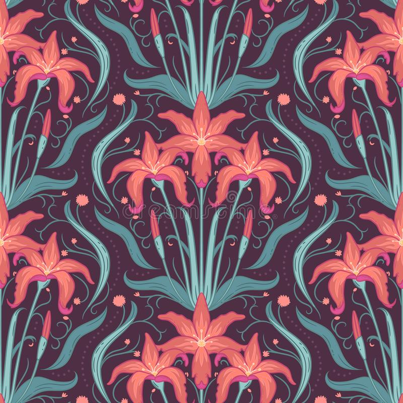 O lírio floresce o teste padrão sem emenda decorativo com elementos florais Textura para pap?is de parede, tela, envolt?rio, fund ilustração do vetor