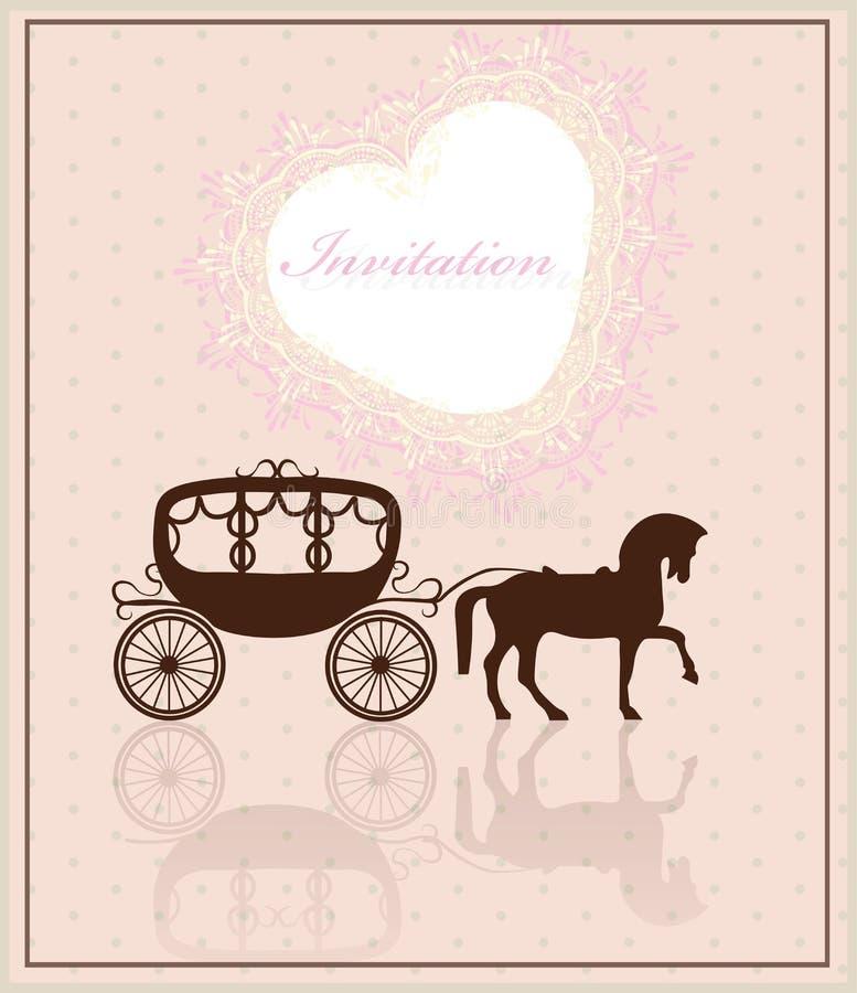 O laço faz crochê o cartão do convite da forma do coração ilustração do vetor