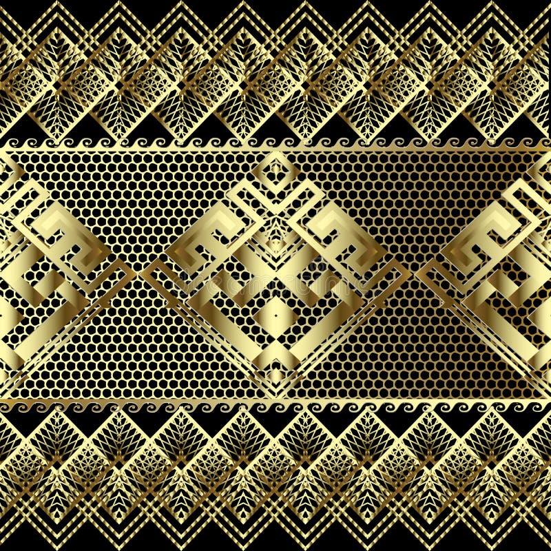 O laço textured o teste padrão sem emenda da beira do vetor grego do ouro 3d r Repetição ornamentado antiga ilustração do vetor