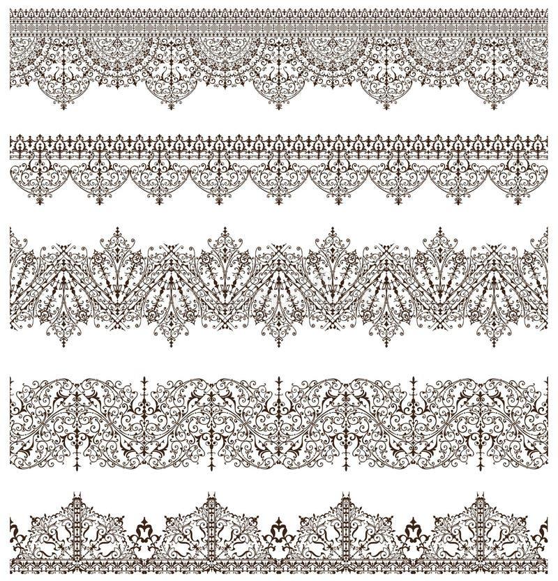 O laço vitoriano da antiguidade oriental dos elementos do projeto do vintage dos ornamento limita os ornamento árabes e ondula ilustração royalty free