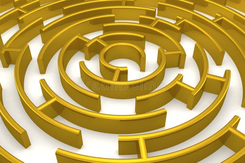 O labirinto do ouro com reflexão. ilustração do vetor