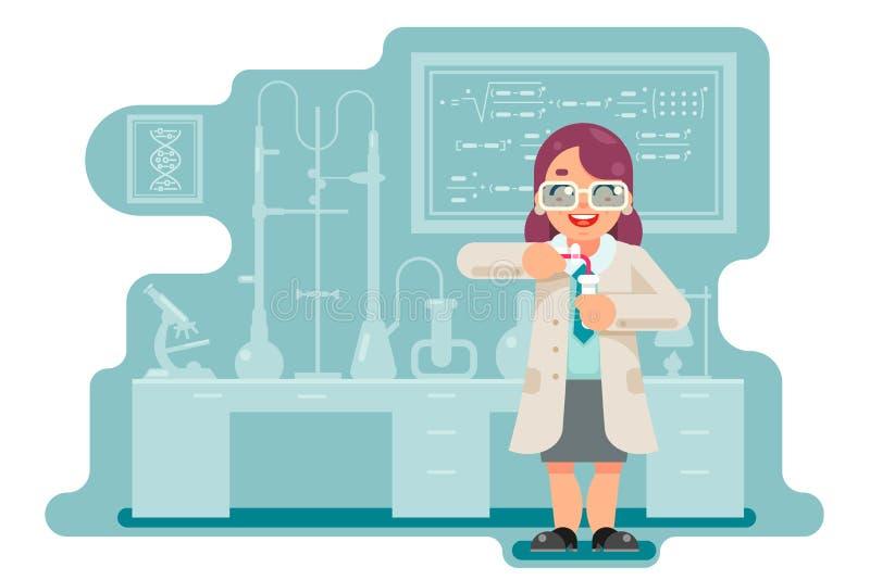 O laboratório químico do cientista esperto sábio fêmea da mulher da experiência faz transfusão o projeto liso dos tubos de ensaio ilustração do vetor