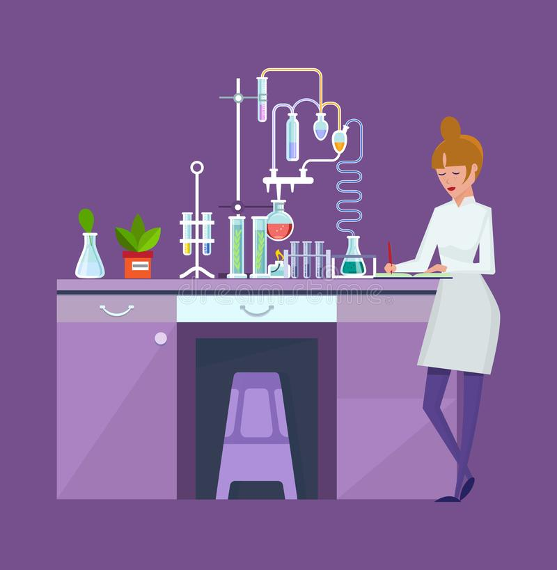 O laboratório químico do pesquisador, cientista fêmea, conduz a pesquisa química, experiências ilustração royalty free