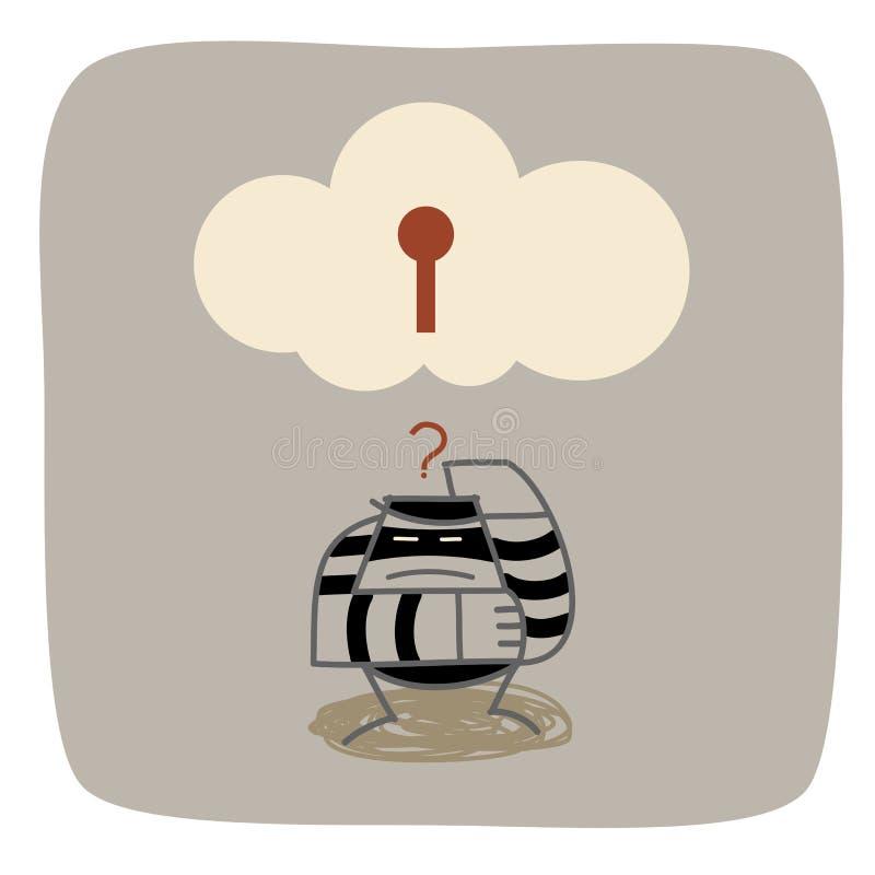 O ladrão confunde a segurança de computação da nuvem ilustração stock