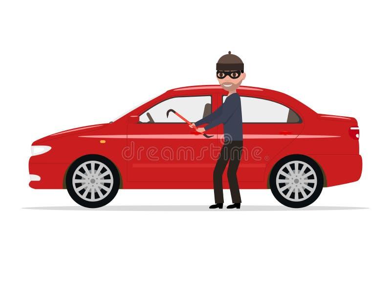 O ladrão dos desenhos animados da ilustração do vetor rouba um carro ilustração stock