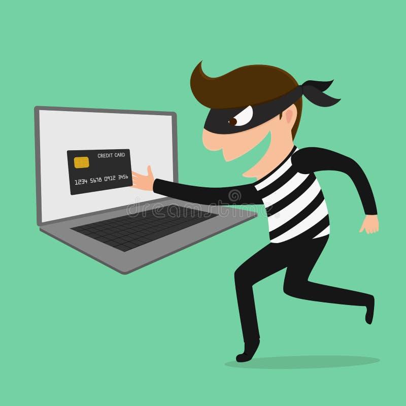 O ladrão Hacker rouba seus cartão e dinheiro de crédito dos dados ilustração do vetor