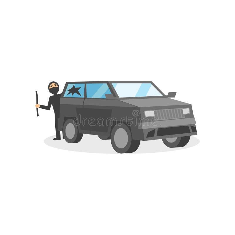 O ladrão na máscara preta quebrou a janela no automóvel cinzento Comportamento criminoso Ladrão de carro com pé de cabra Projeto  ilustração do vetor
