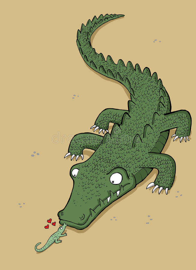 O lagarto pequeno beija a vasilha de barro ilustração royalty free