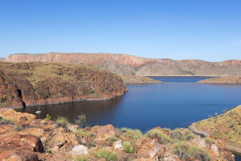 O lago Argyle é Austrália Ocidental a maior e o segundo de Austrália - o reservatório sintético de água doce o maior pelo volume  imagem de stock