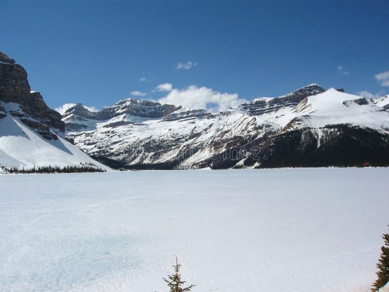 O lago bow é ainda gelo coberto em maio, parque nacional de Banff, Alberta foto de stock royalty free