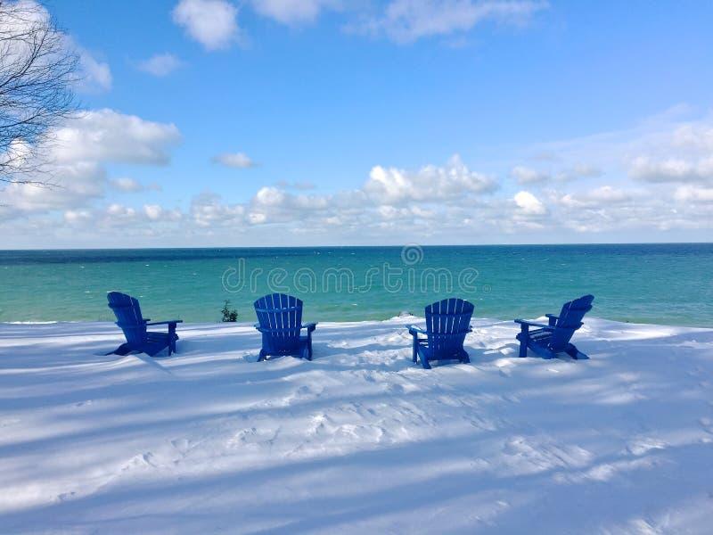 O Lago Michigan em um dia de inverno nevado fotos de stock
