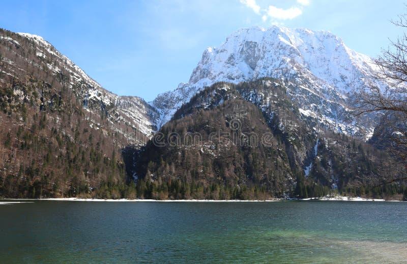 O lago pequeno alpino chamou o lago Predil Itália do norte perto de Austr imagem de stock royalty free