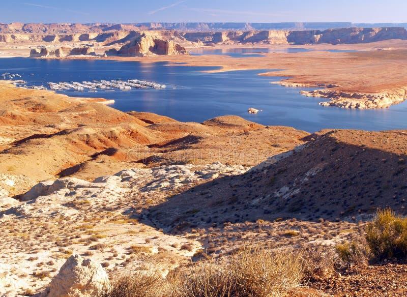 O lago Powell na garganta do vale fotografia de stock