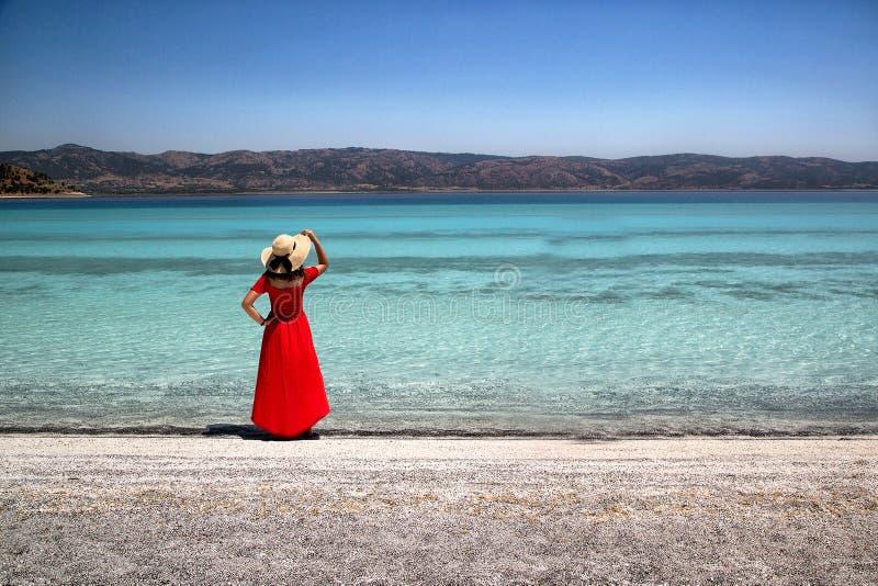 O lago Salda, as praias brancas e a turquesa molham imagem de stock royalty free