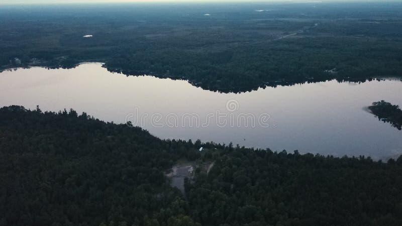 O Lakeview nas madeiras imagem de stock