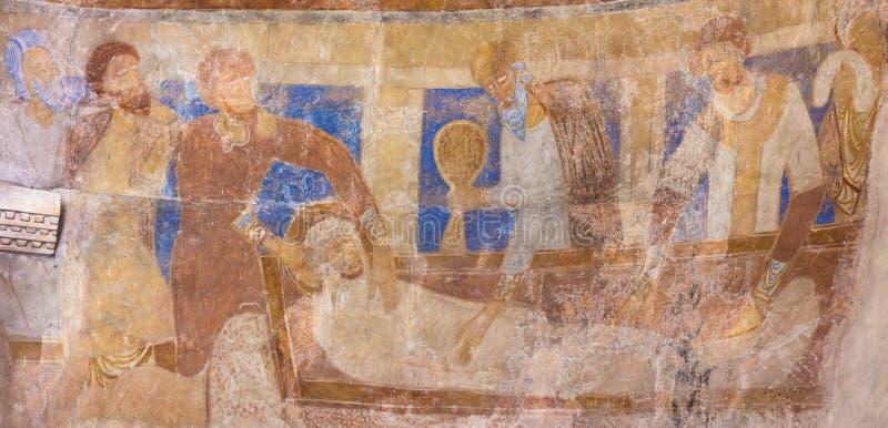 O lamento de Cristo, uma pintura mural antiga do romanesque fotos de stock royalty free