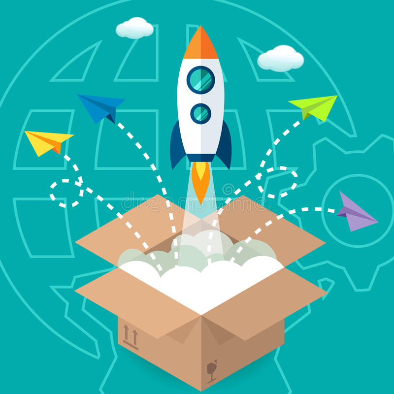 O lançamento de Negócio Produto Projeto Empresa começa acima ilustração do vetor