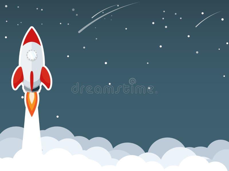 O lançamento de Rocket na nuvem do céu, moeda de ouro que cai do vectorrocket liso do céu começa acima do lançamento, começo do c ilustração do vetor