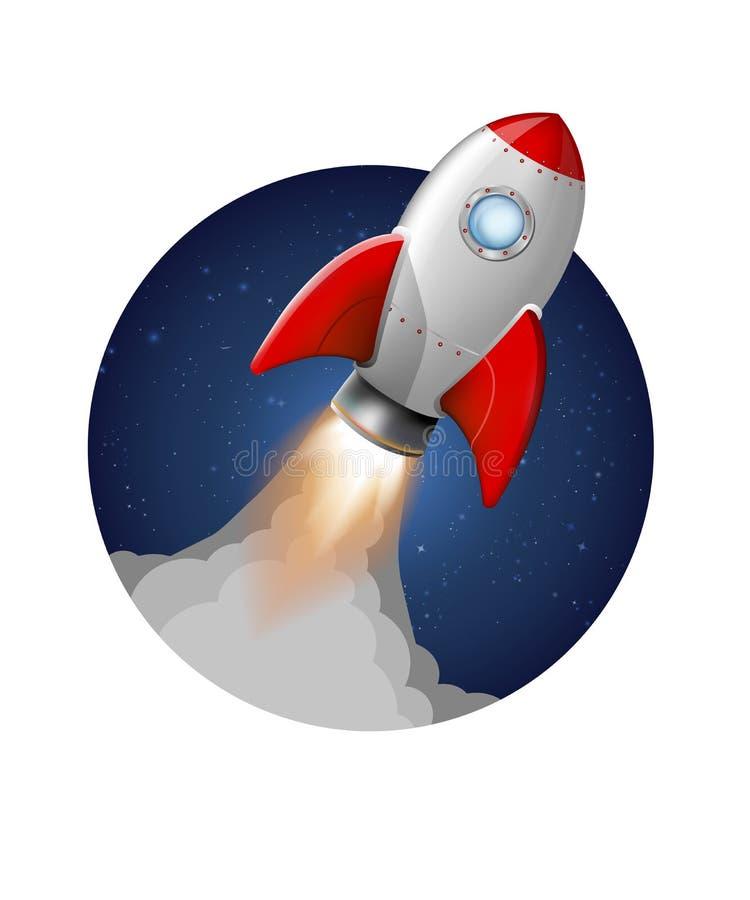 O lançamento do foguete do vetor decola partida ilustração do vetor