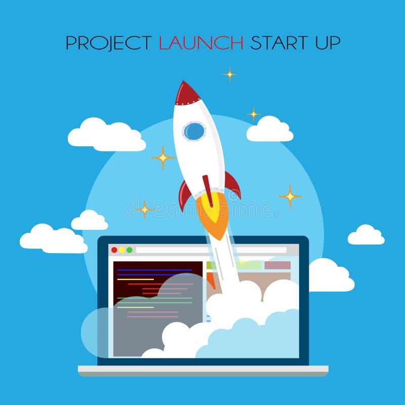 O lançamento do projeto começa acima ilustração stock