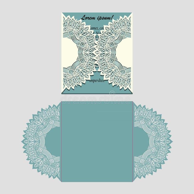 O laser cortou o cartão de dobramento do laço de papel com elemento da mandala Molde de corte para o convite do casamento ou os p ilustração stock