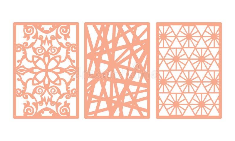O laser cortou o grupo decorativo do molde dos painéis com teste padrão dos redemoinhos ilustração do vetor