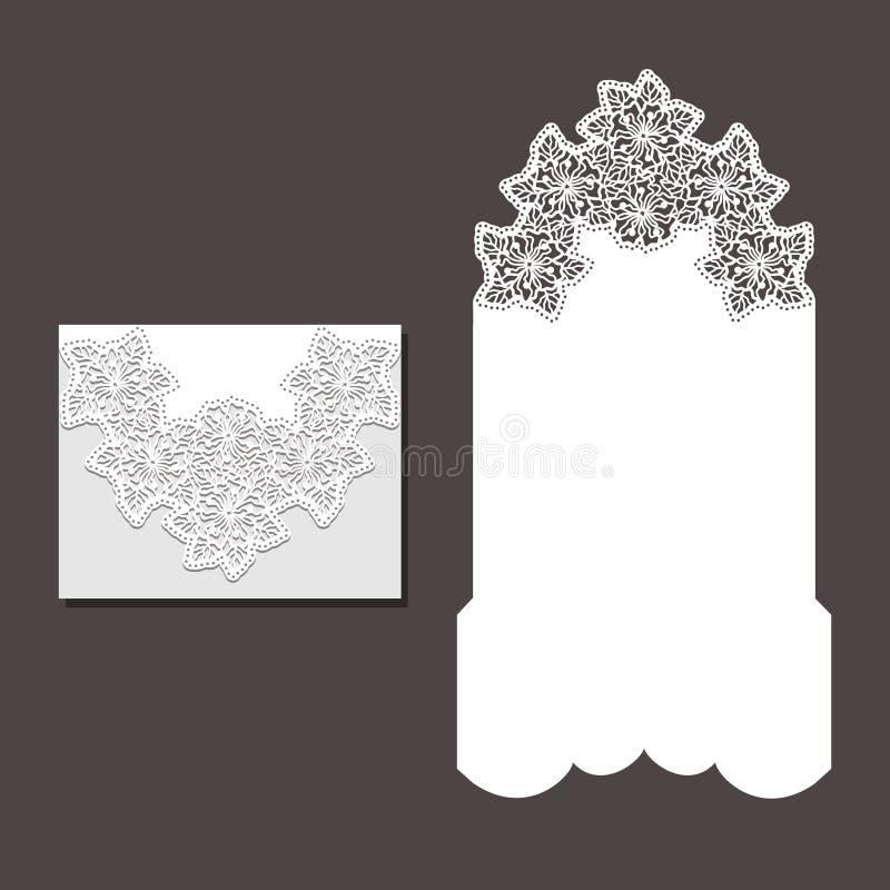 O laser cortou o molde do envelope para o cartão de casamento do convite imagens de stock