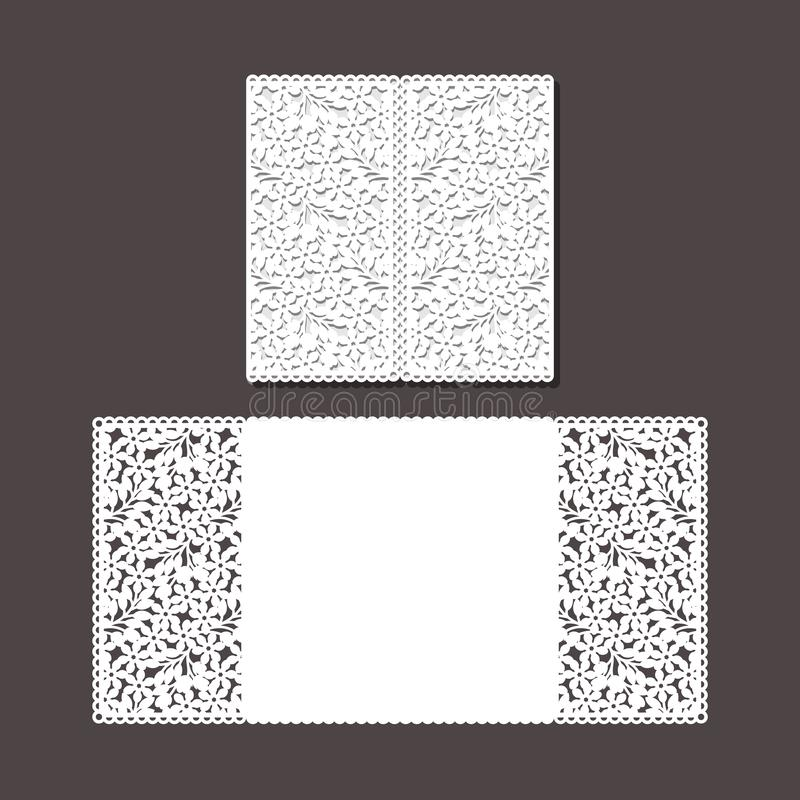 O laser cortou o molde do envelope para o cartão de casamento do convite foto de stock