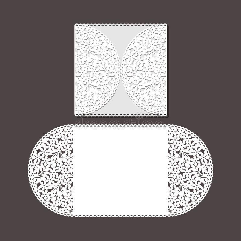 O laser cortou o molde do envelope para o cart?o de casamento do convite fotos de stock royalty free