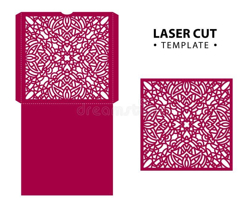 O laser cortou o molde do cartão do envelope do vetor com ornamento abstrato ilustração do vetor