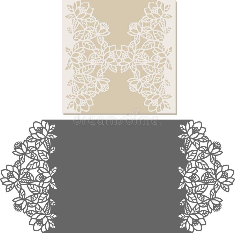 O laser cortou o molde do envelope para o cartão de casamento do convite fotos de stock royalty free