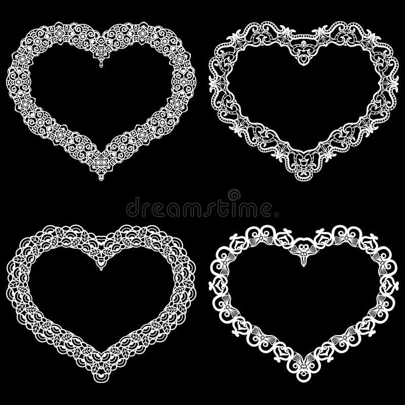 O laser cortou o quadro na forma de um coração com beira do laço Um grupo das fundações para o doily de papel para um casamento U ilustração do vetor