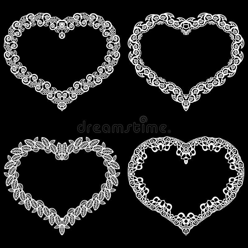 O laser cortou o quadro na forma de um coração com beira do laço Um grupo das fundações para o doily de papel para um casamento U ilustração stock