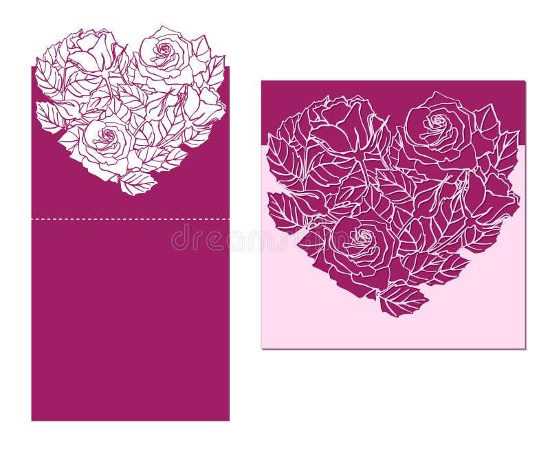 O laser cortou o temlate do cartão com o ornamento cor-de-rosa do coração Entalhe p ilustração royalty free