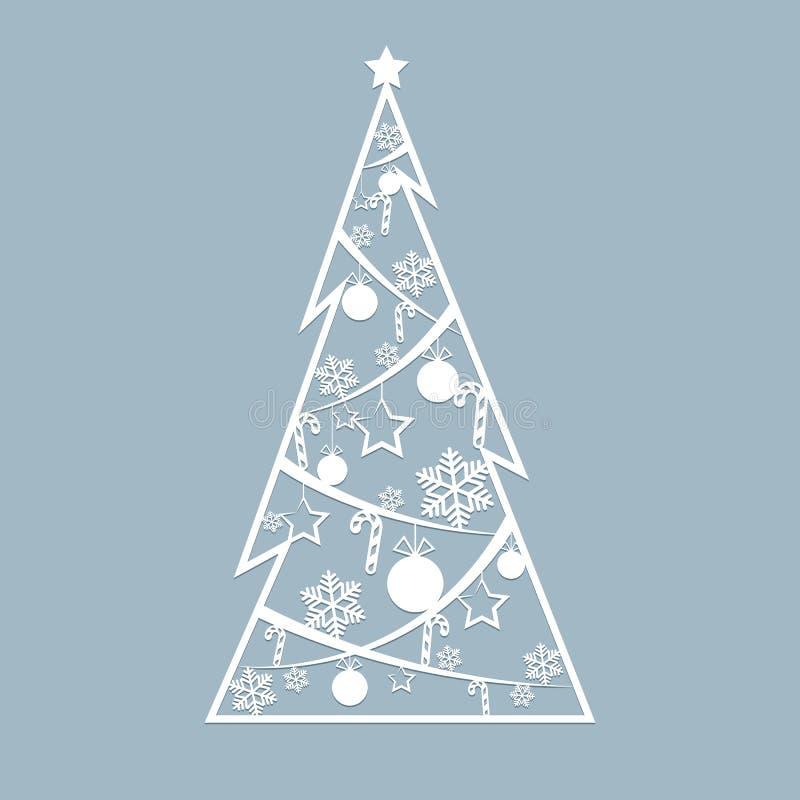 O laser do estêncil cortou para a árvore a céu aberto do abeto vermelho do Natal dos cartões de Natal cortada do papel para o car ilustração royalty free