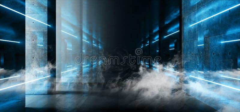 O laser elegante moderno do azul do fumo incandesce Grunge que da arquitetura as colunas concretas cimentam a garagem subterrânea ilustração do vetor
