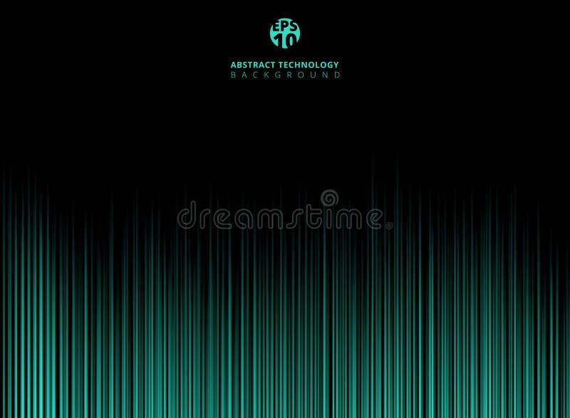 O lazer abstrato da luz verde da tecnologia alinha o teste padrão vertical sobre ilustração stock