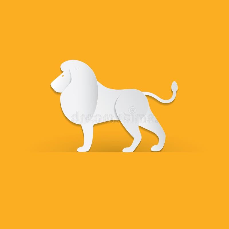 O leão no papel na moda cortou o estilo do gráfico do ofício Projeto moderno para anunciar, cartão de marcagem com ferro quente,  ilustração royalty free