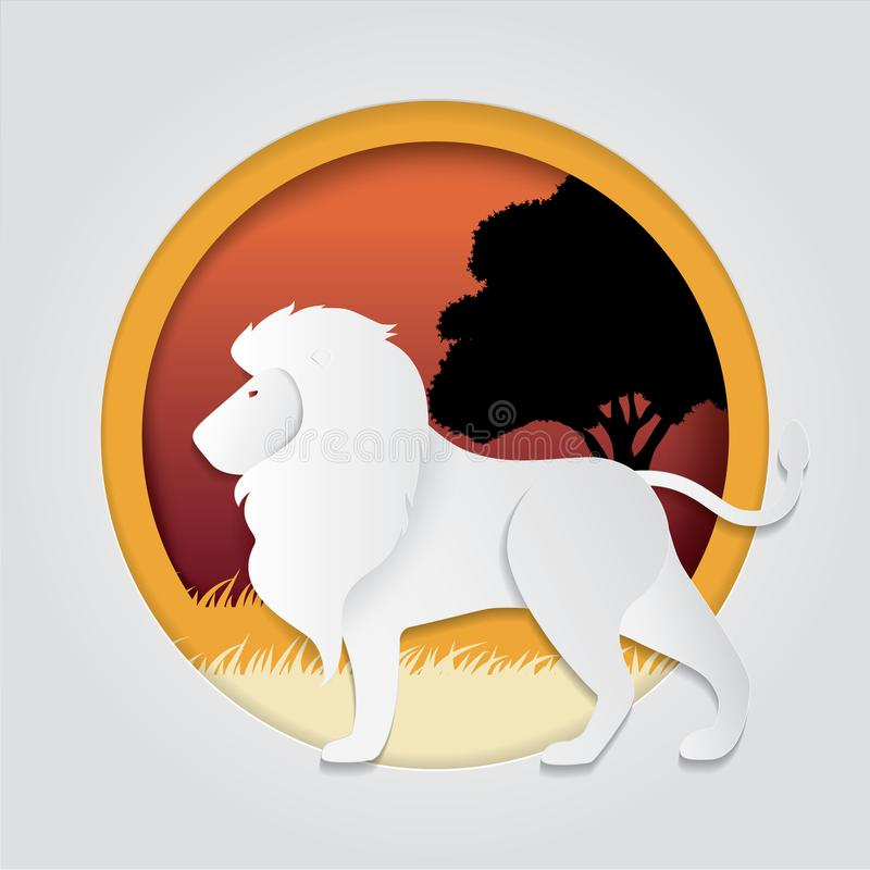 O leão no papel na moda cortou o estilo do gráfico do ofício Projeto moderno para anunciar, cartão de marcagem com ferro quente,  ilustração do vetor